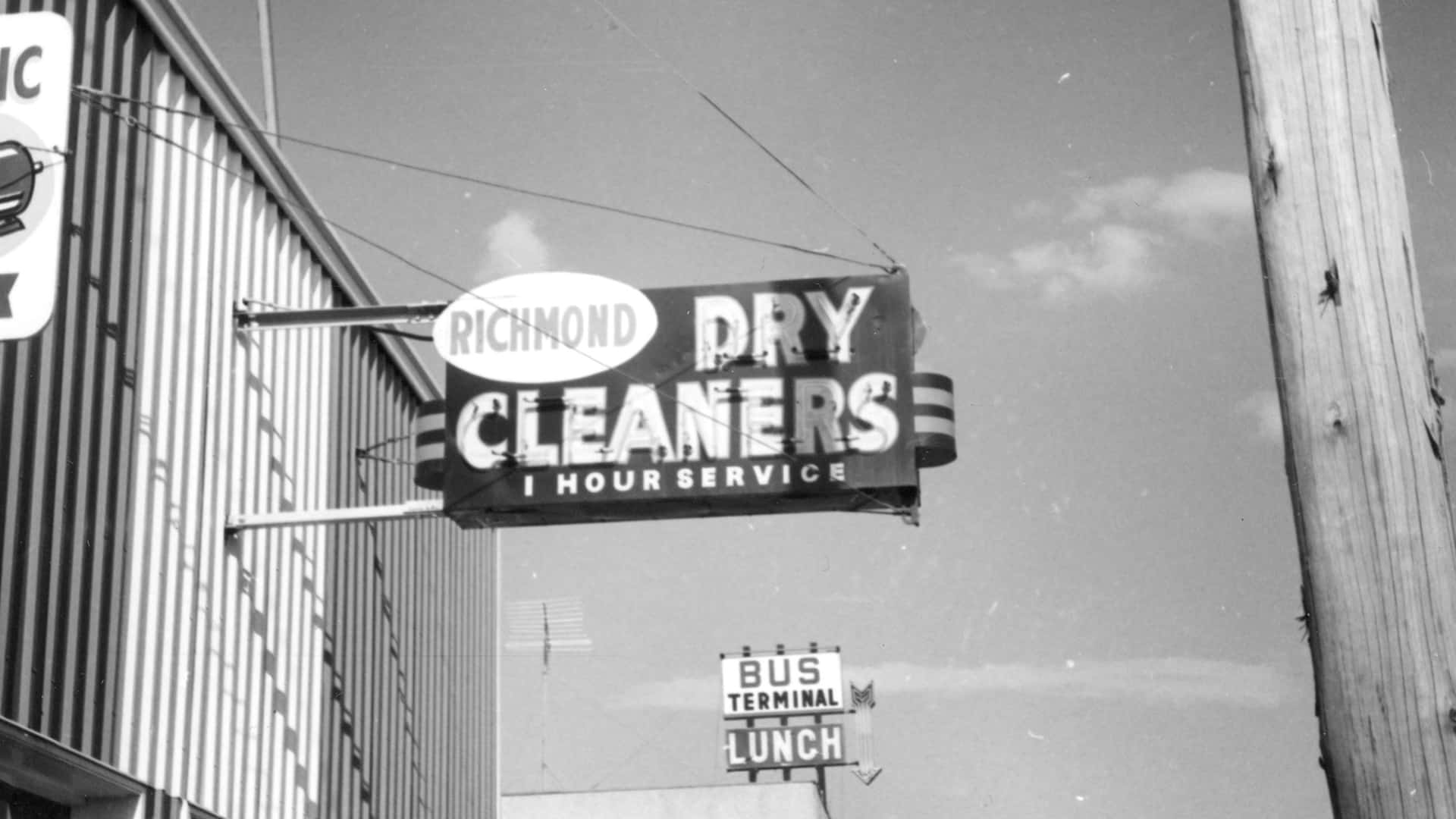 RIchmond Dry Cleaners Sign 1965 050.08.02.46 South Peace Regional Archives